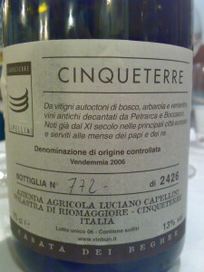 Limited production Cinqueterre wine