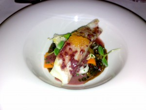 Pan-fried Turbot with pancetta and lentil ragout, beurre rouge and pickled vegetables