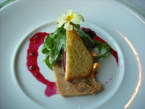 Terrine of fois gras with cherries, salad and brioche
