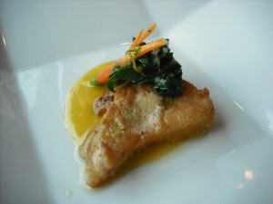 Sweetbreads of veal with spring carrots, spinach and orange-butter sauce