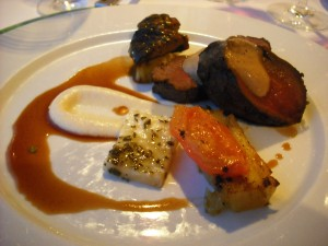Filet of deer with braised celeriac, porto bello, confit of tomatos and Marco Polo sauce